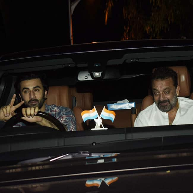 Ranbir Kapoor and Sanjay Dutt spotted at Rishi Kapoor s House in Bandra