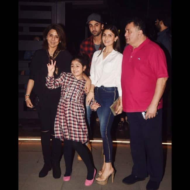 Ranbir Kapoor with family  Post dinner