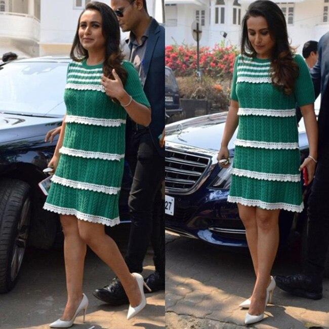 Rani Mukherji in green midi outfit for Hichki promotions