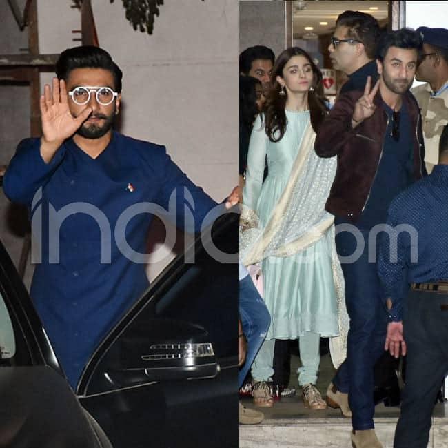 Ranveer Singh  Ranbir Kapoor and Alia Bhatt clicked at Mumbai airport