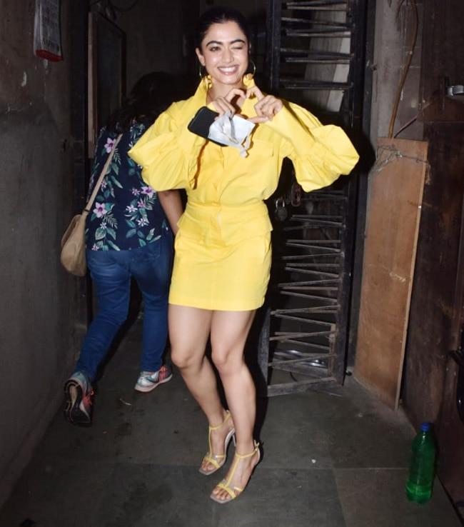 Rashmika Mandanna Snapped By Paparazzi At Monochrome Studious