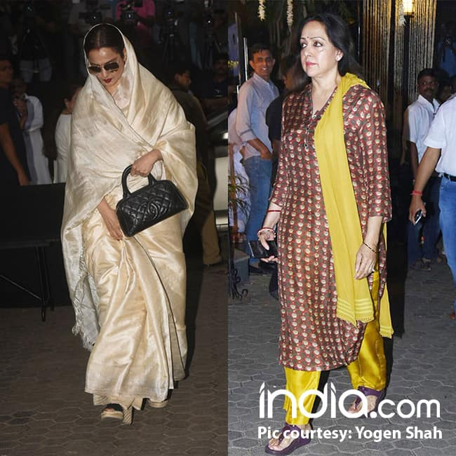 Rekha and Hema Malini at Shashi Kapoor   s Chautha ceremony
