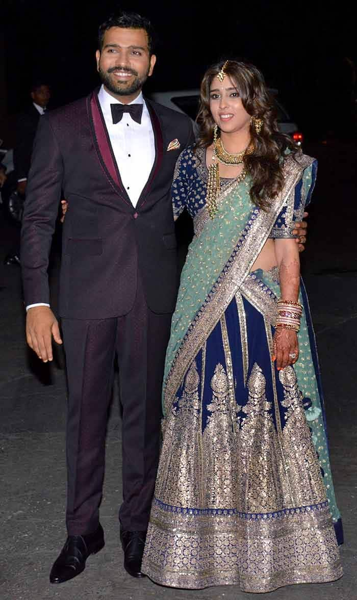 Rohit Sharma and Ritika Sajdeh clicked during their reception party