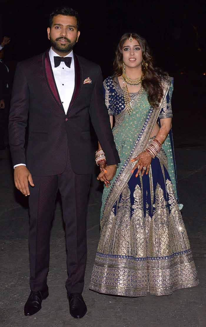 Rohit Sharma and Ritika Sajdeh snapped during their reception party