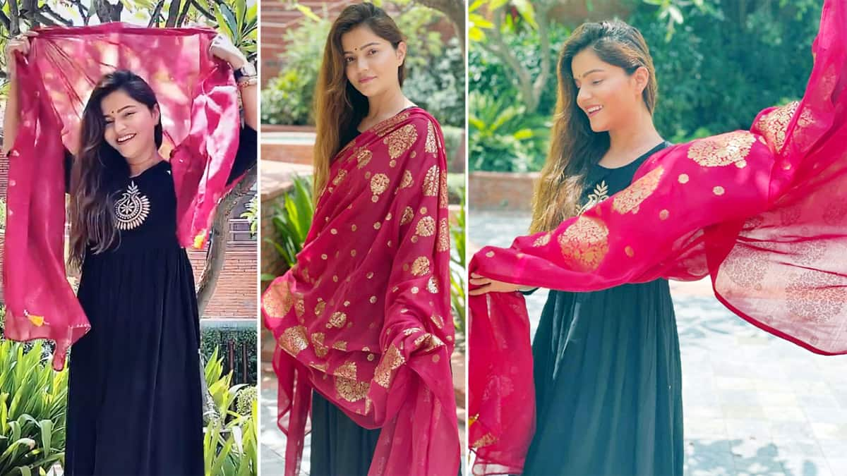 Rubina Dilaik enjoys getting clicked in this pretty grey   pink suit