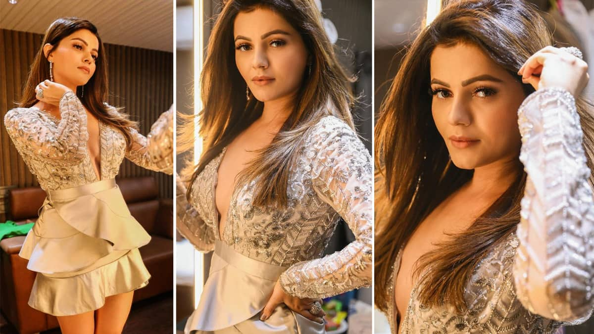 Rubina Dilaik Goes Bold In Little Silver Sultry Dress