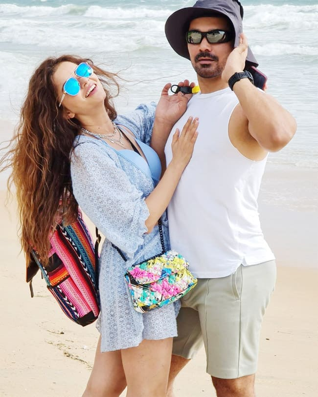 Rubina Dilaik goes sultry in a blue bikini as she poses with Abhinav Shukla in goa