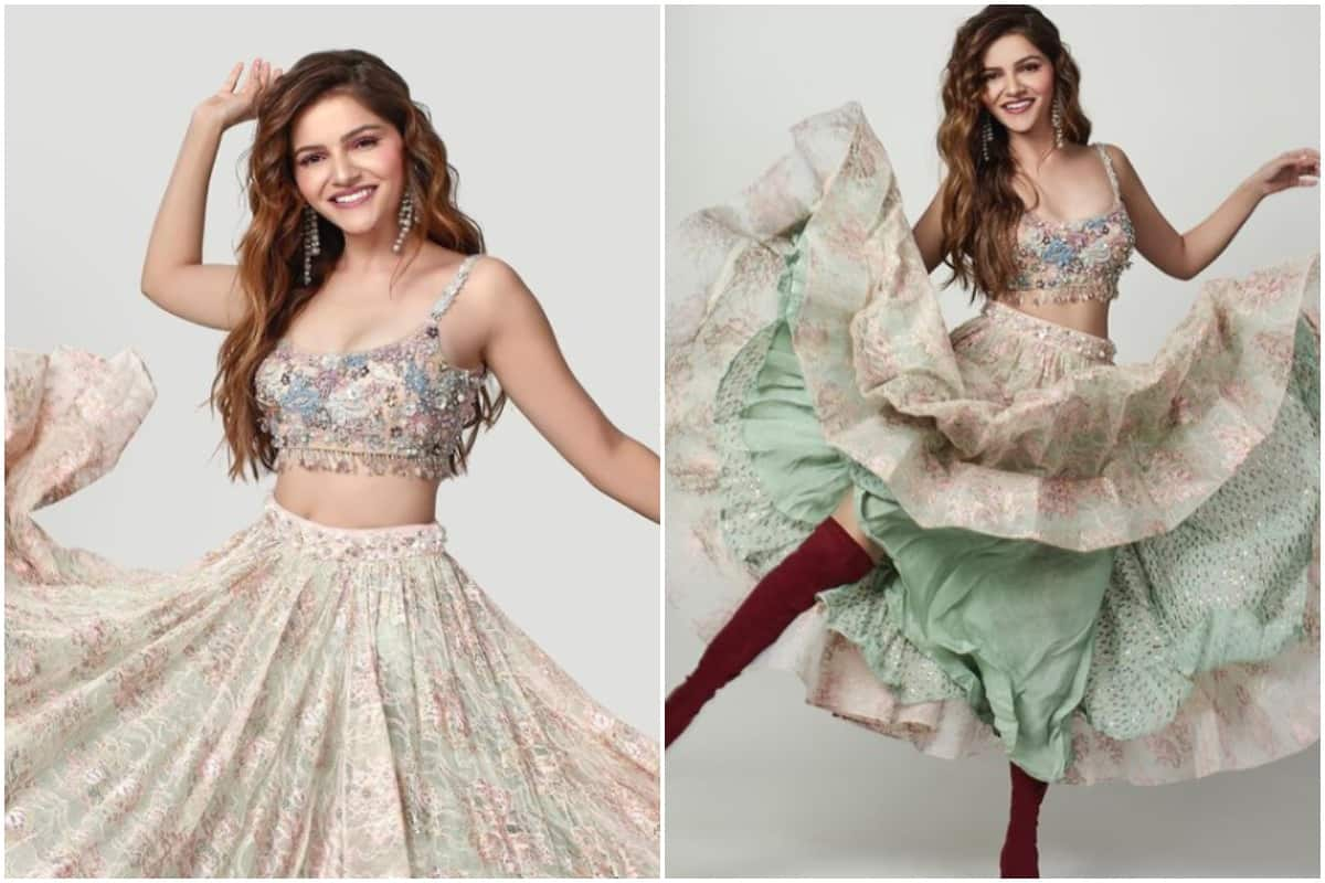 Rubina Dilaik looks her sexiest best in this pastel pink green french lace lehenga