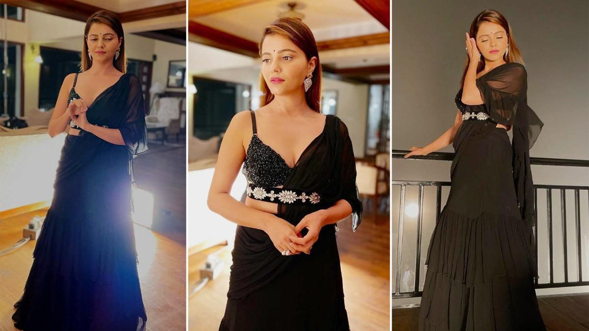 Rubina Dilaik Looks Hot In Sexy Blue Lehenga