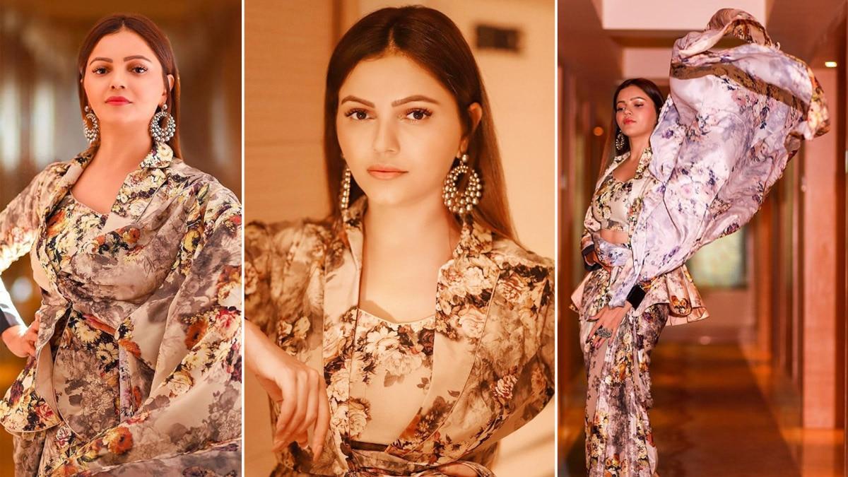 Rubina Dilaik Looks Stunning in Floral Satin Saree Teamed Up With Jacket Blouse