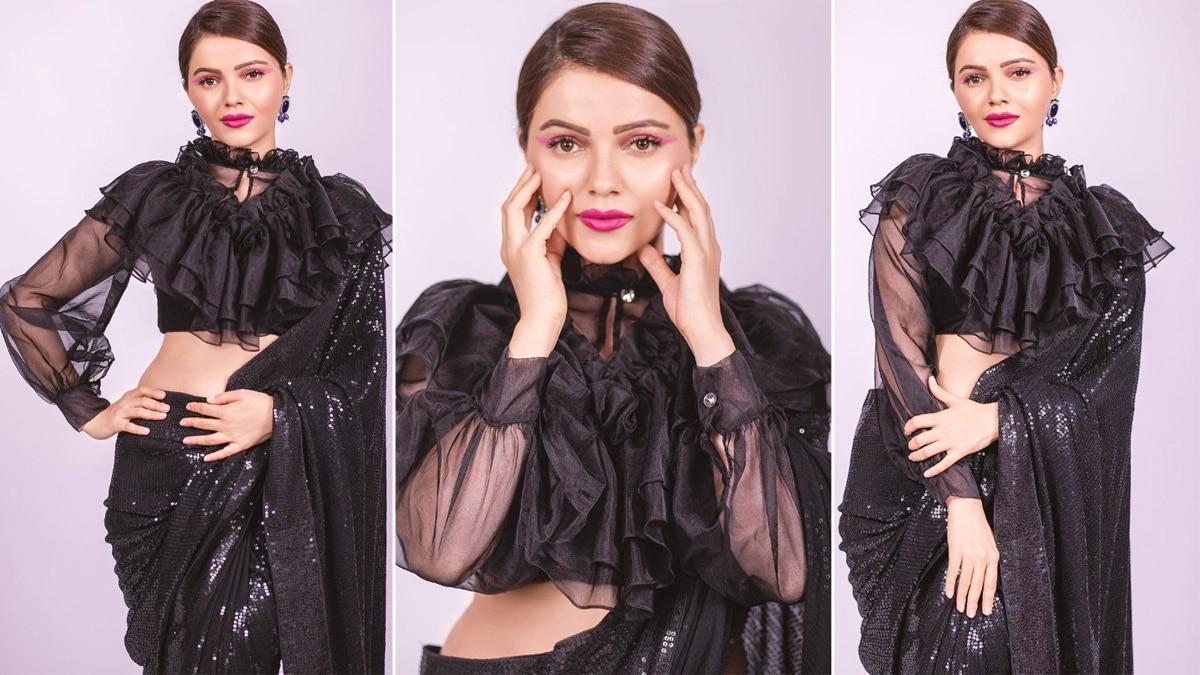 Rubina Dilaik Makes a Stylish Statement in a Black Sequin Saree