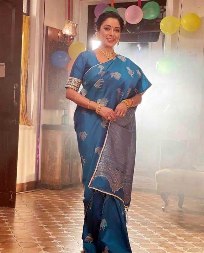 Rupali Ganguly In Blue Saree