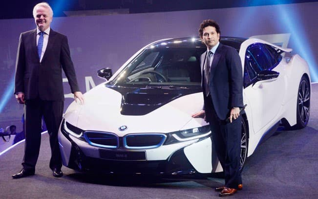 Sachin Tendulkar clicked at the launch of BMW   s i8 car in India