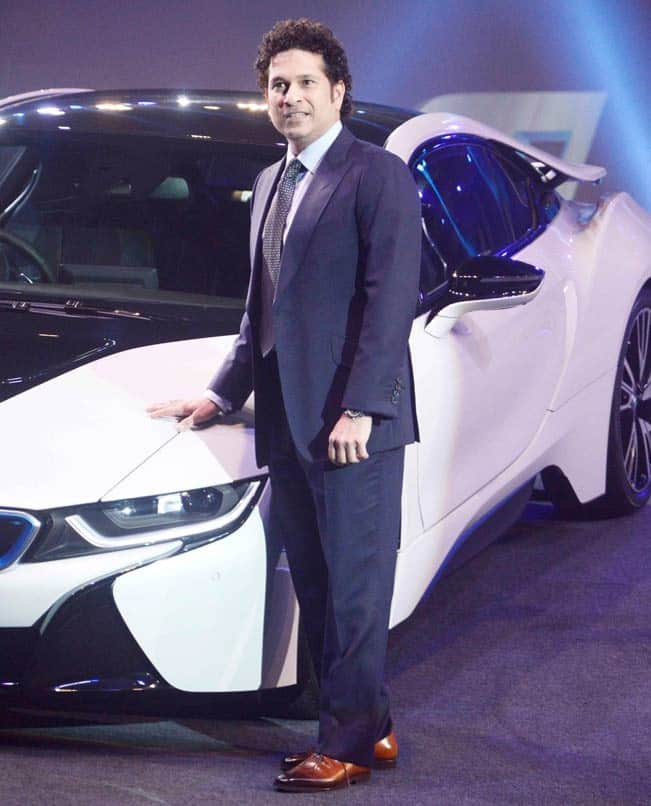 Sachin Tendulkar clicked during the launch of BMW   s i8 car in India