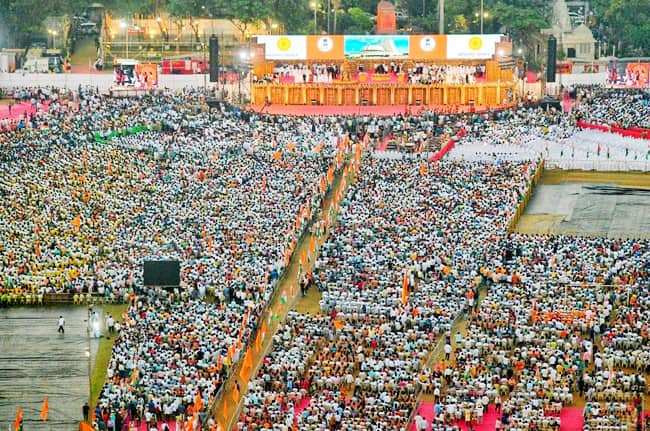 Saffron emotions Take Over Shivaji Park During Oath taking Ceremony