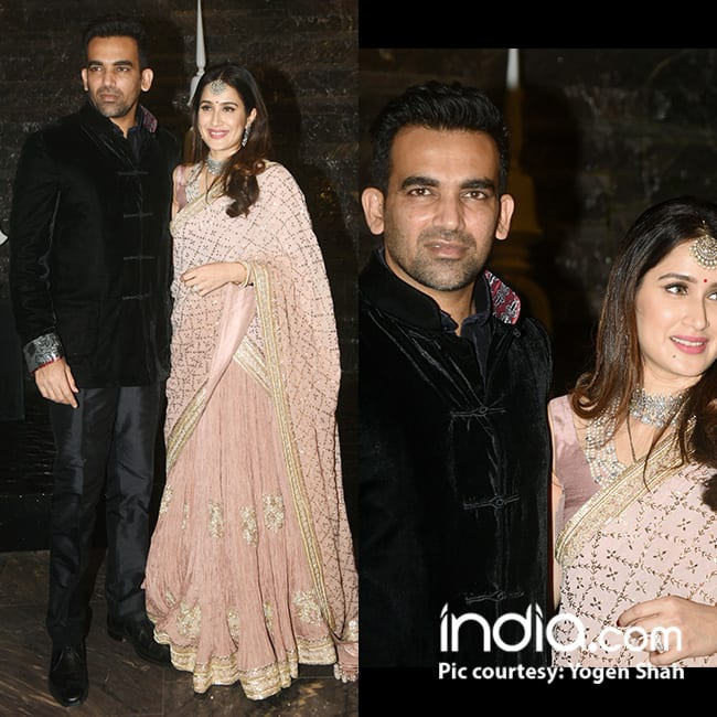 Sagarika Ghatge and Zaheer Khan pose for papz post their wedding