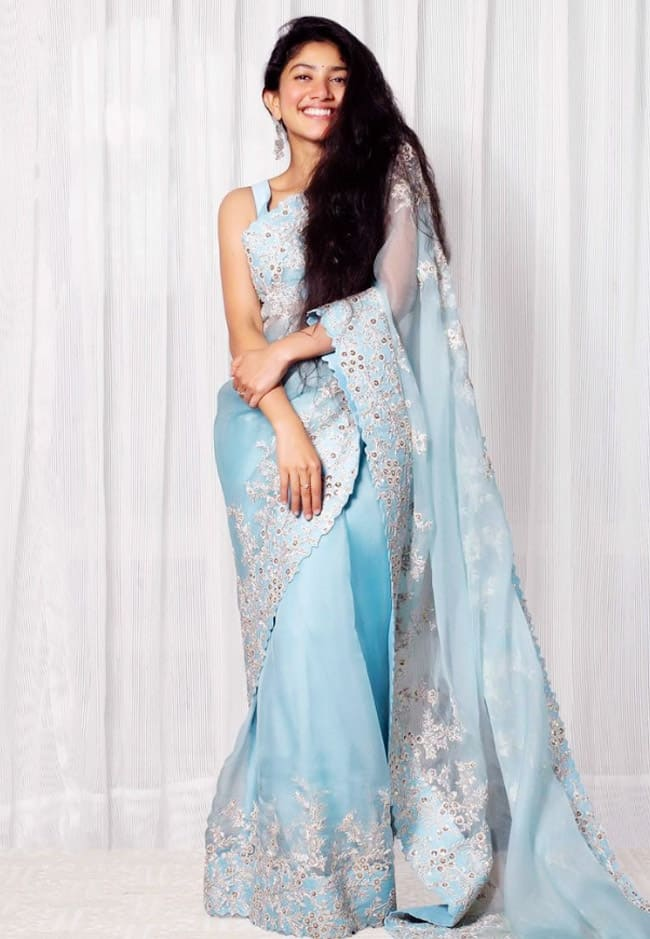 Sai Pallavi Reflects Grace And Serenity  In The Blue Embellished Saree