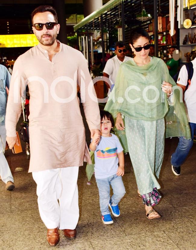 Saif  Kareena  Taimur Snapped at Mumbai Airport