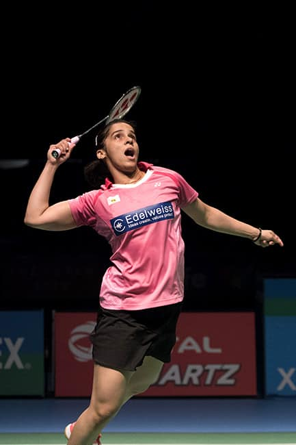 Saina Nehwal clicked while playing during Australian Badminton Open final match