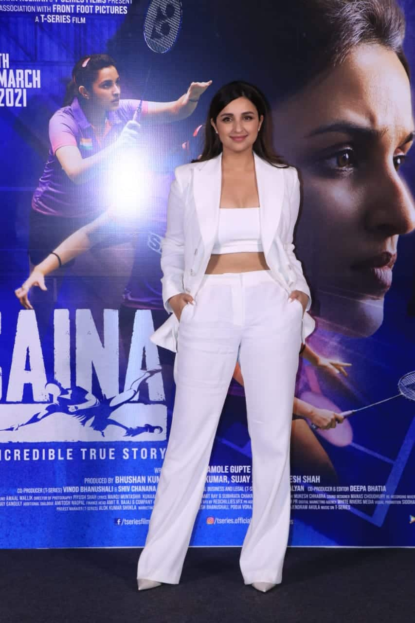 Saina Trailer Launch  Parineeti Chopra in all white power suit is just classy