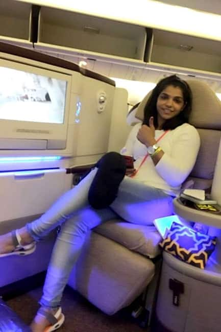 Sakshi Malik shares a picture from her flight