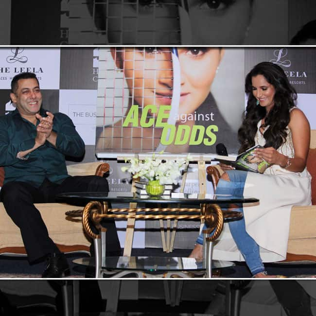 Sania Mirza and Salman Khan posing during launch of 'Ace