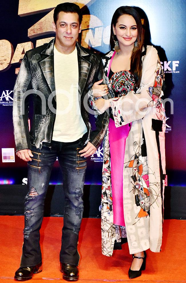 Salman Khan and Sonakshi Sinha at the special screening of Dabangg 3