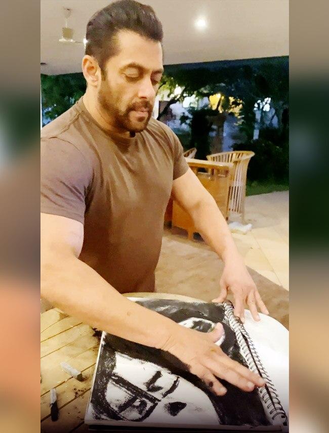 Salman Khan sketches at home