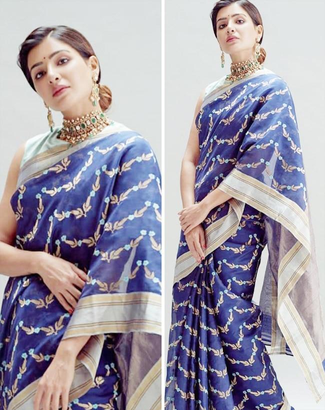 Samantha Akkineni wears a Raw Mango saree at Rana Daggubati and Miheeka Bajaj wedding