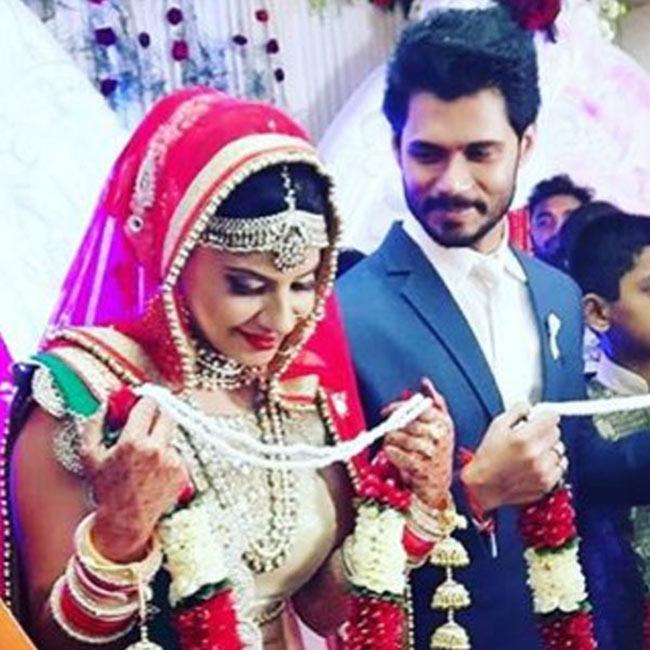 Sambhavna Seth and Avinash Dwivedi snapped during their wedding