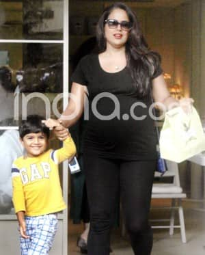Pregnant Sameera Reddy Spotted With Son Outside Mumbai Eatery