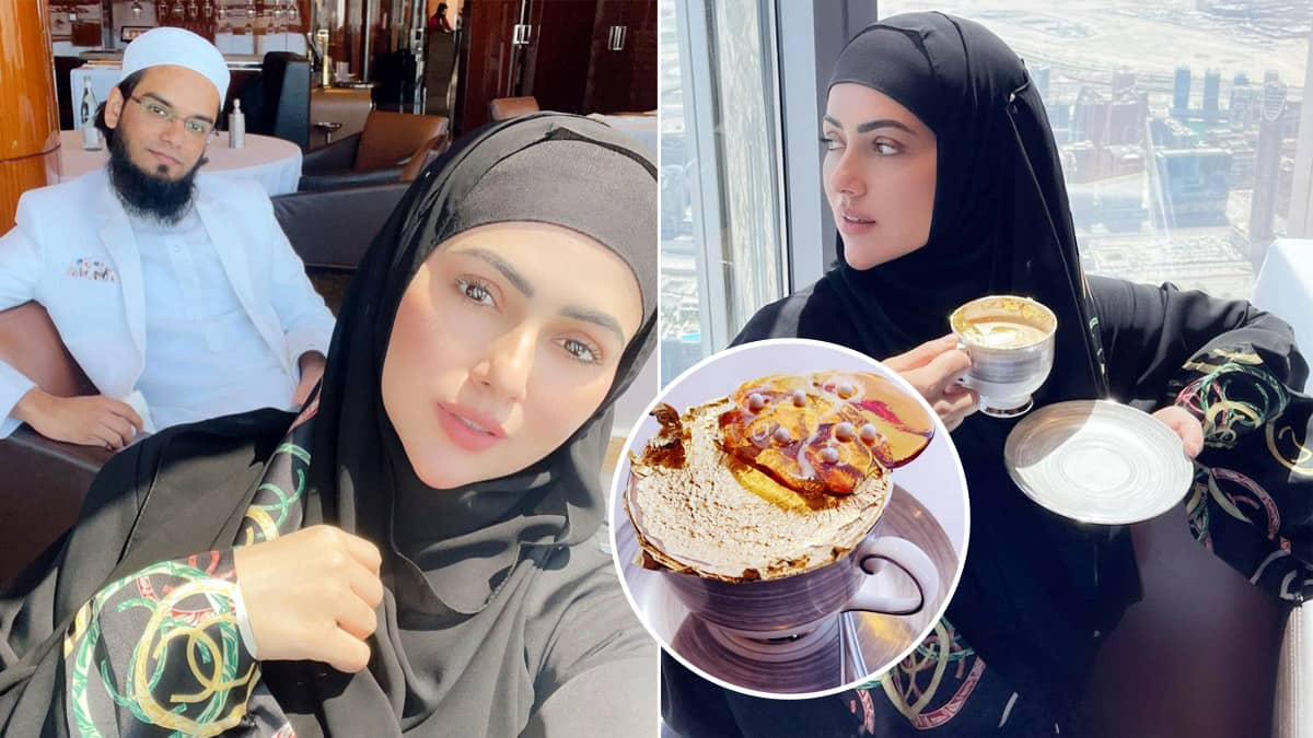 Sana Khan drinks a 24k gold plated coffee