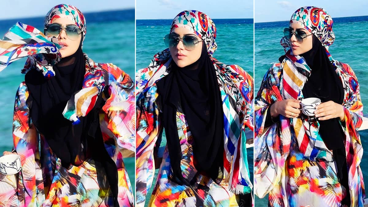 Sana Khan looks pretty in this multicolour dress that she wore in Maldives