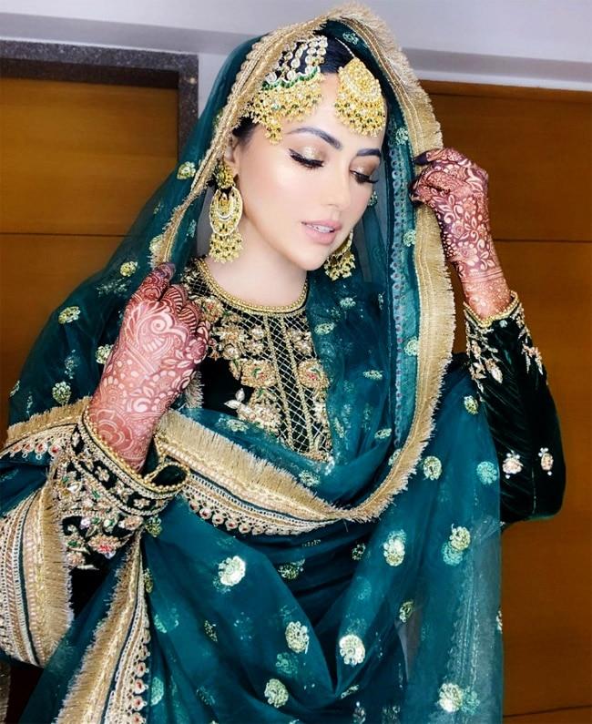Sana Khan stuns in a green sharara at her Nikaah