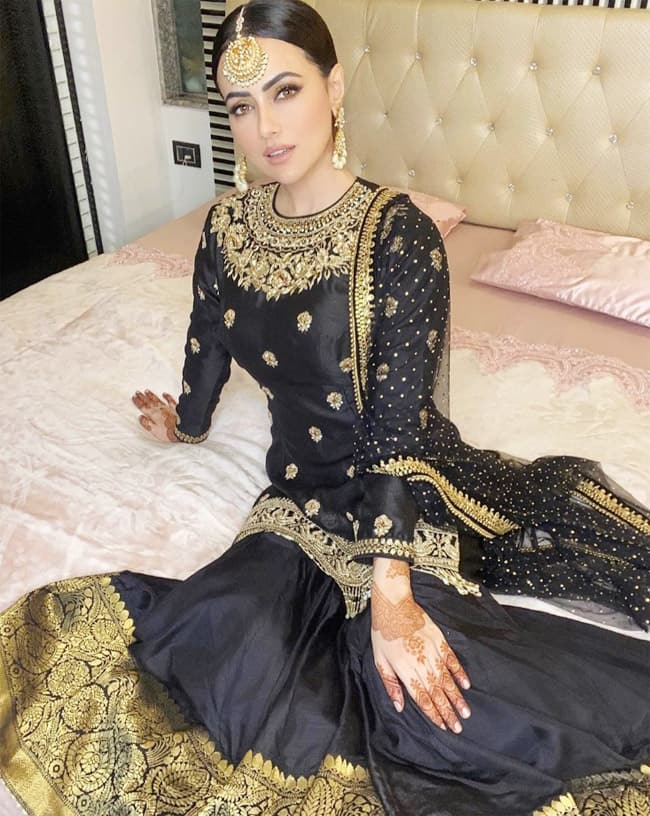 Sana Khan Wears Black Gharara on The Occasion of Eid