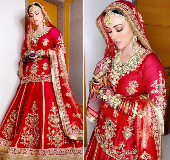 Sana Khan wore a hand embroidered red lehenga for her walima