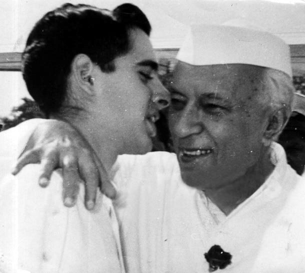 Sanjay Gandhi with maternal grand father Jawaharlal Nehru