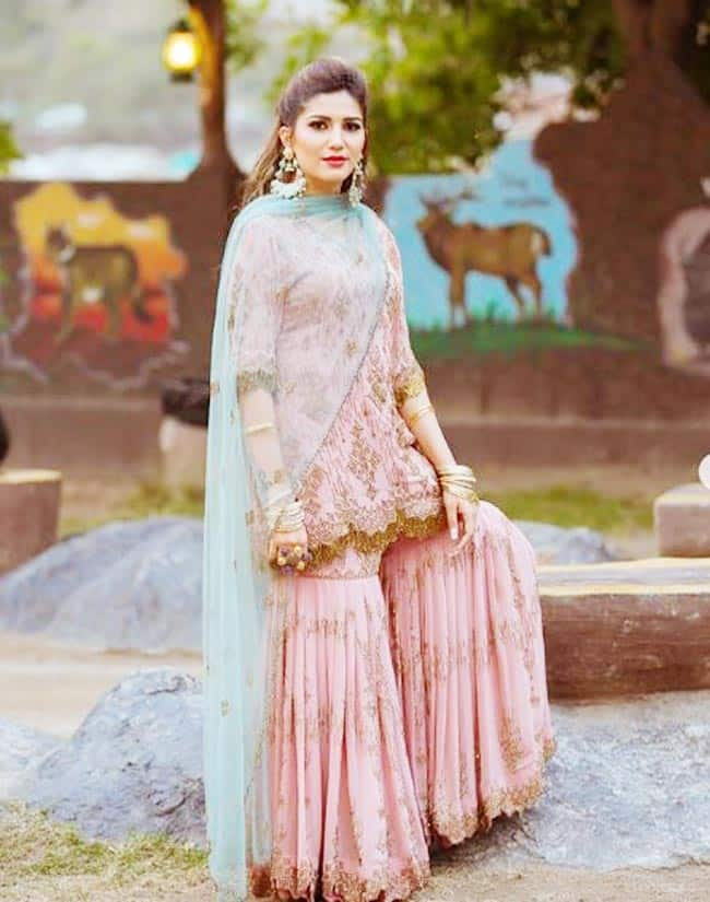 Sapna Choudhary Latest Photoshoot in Pink Sharara And Red Lips is Making Internet go Crazy