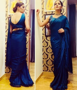 Popular Haryanvi Dancer Sapna Choudhary Looks Drop-Dead Gorgeous in Blue Saree, See Pictures
