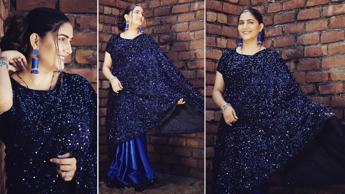 Sapna Choudhary   s Look in Shimmery Blue Saree Is Not So Fashionable