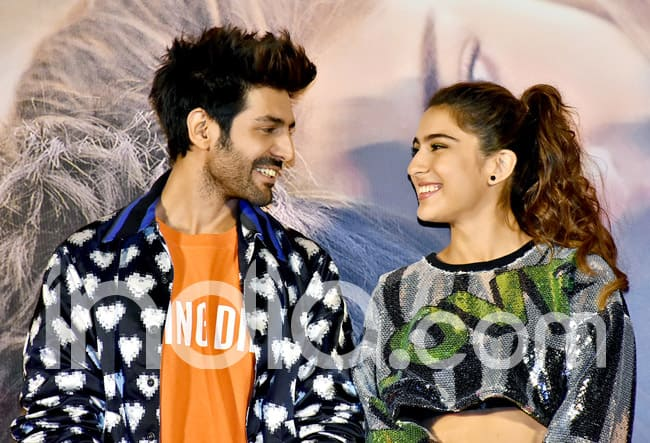 Sara Ali Khan and Kartik Aaryan at the trailer launch of Love Aaj Kal