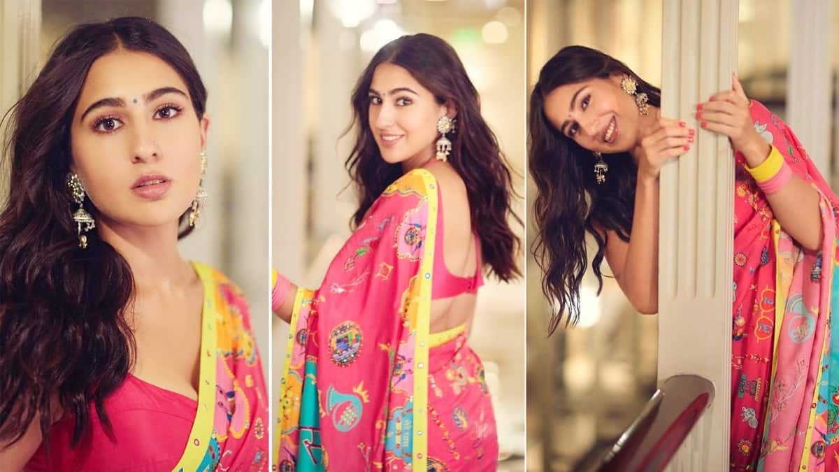 Sara Ali Khan looks radiant in a pink floral saree for Global Citizen Live event