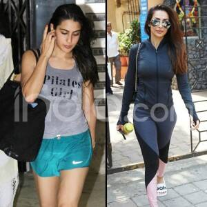 Malaika Arora And Sara Ali Khan Sweat it Out at Gym And Yoga Classes