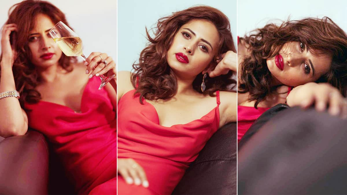 Sargun Mehta Rocks a Blood Red Dress For a Photoshoot at Home