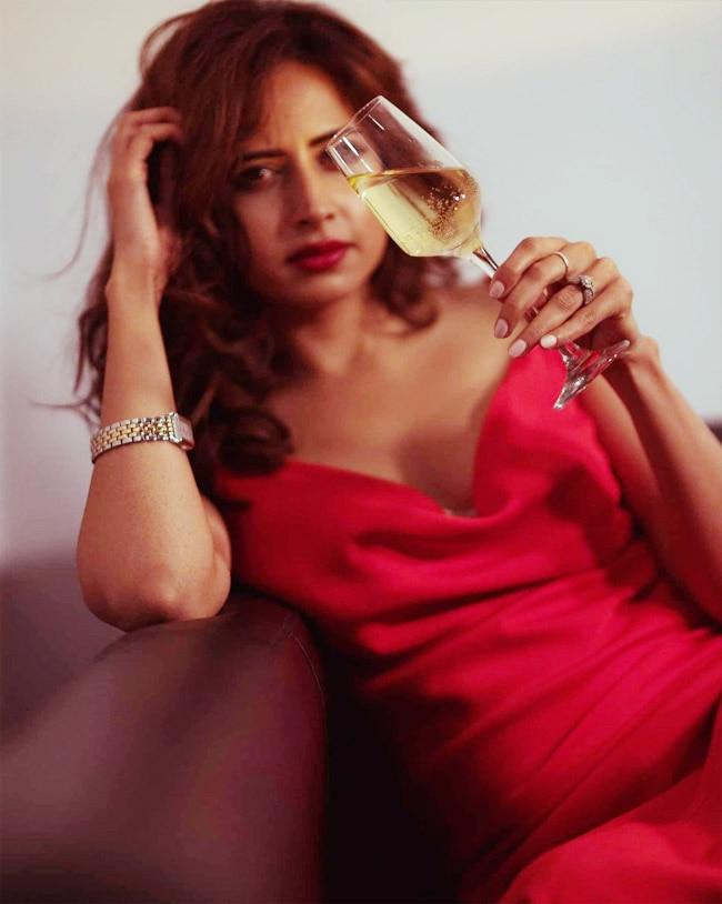 Sargun Mehta   s Romantic Red Dress Featured a Plunging Neckline