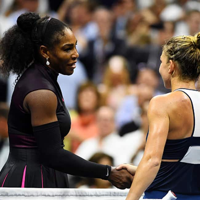 Serena Williams shakes hand with Simona Halep during US Open 2016 quarter final