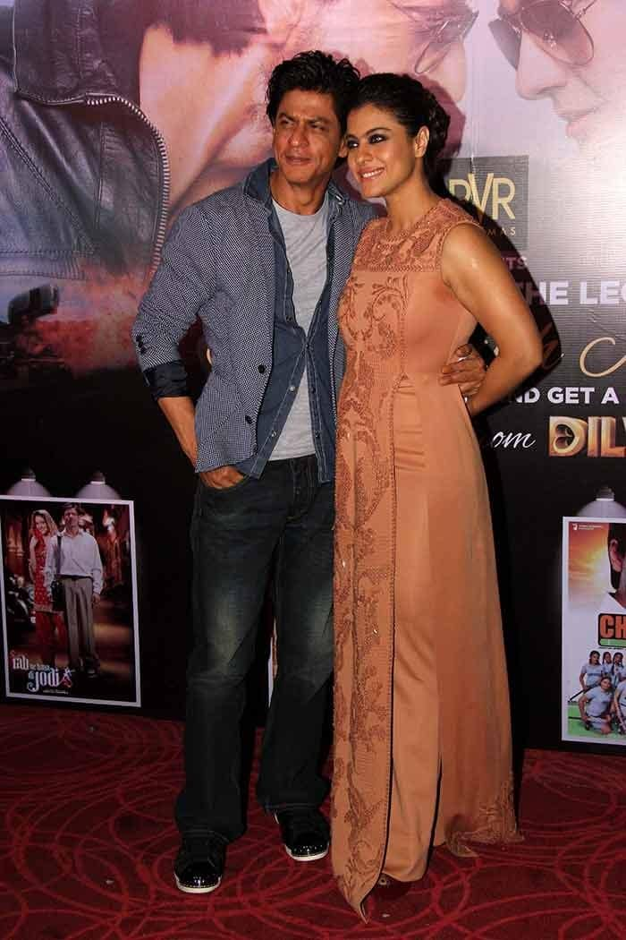 Shah Rukh Khan and Kajol during sneak preview launch of Dilwale