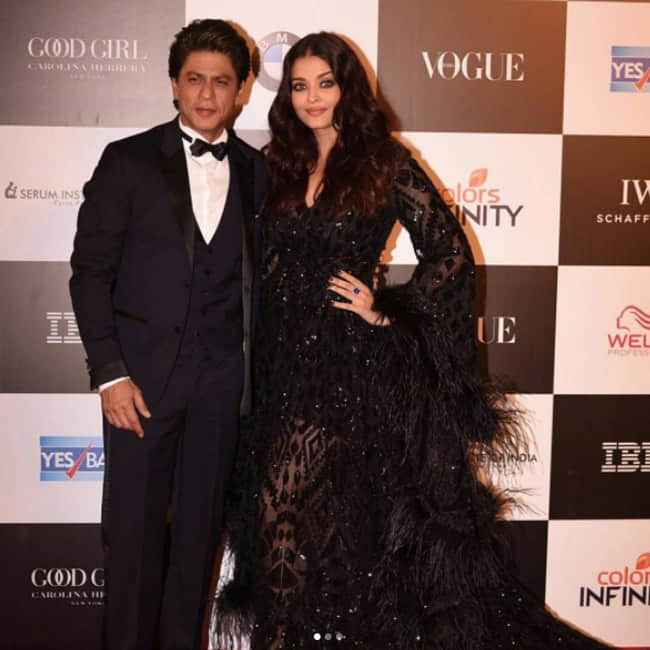 Shah Rukh Khan with Aishwarya Rai Bachchan at Vogue Women of the Year awards 2017