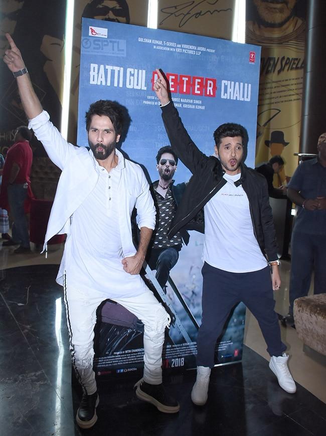 Shahid and Divyendu having fun at the launch event