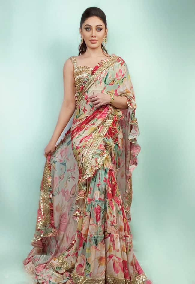 Shefali Jariwala Looks Sizzling Hot In a Colourful Floral Print Saree   See Pics